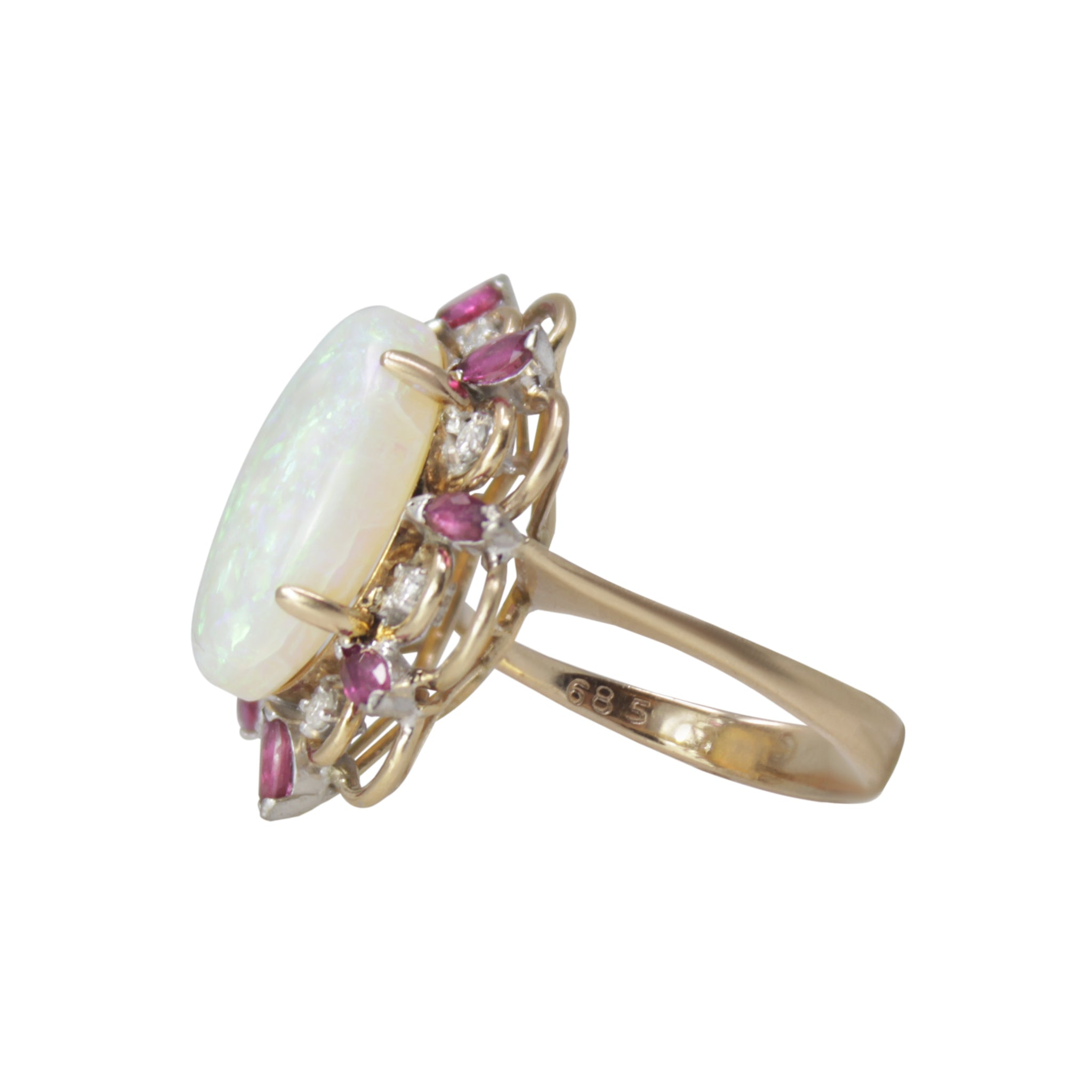 Dazzling Opal Ring- 14k Yellow Gold Diamond Ruby w/ Opal Vintage Large Solitaire Ring