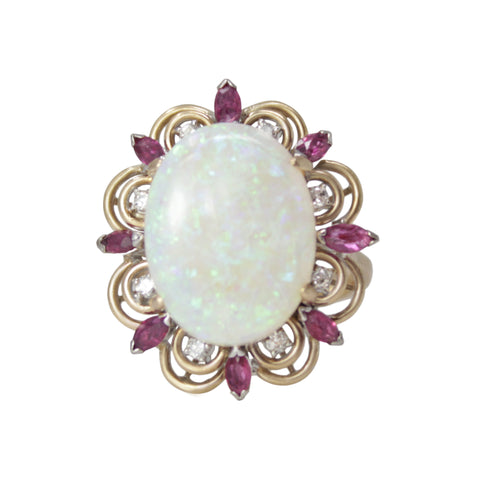 Pink Bubble Cocktail Ring - 18K White Gold Kunzite, Rubellite And Diamond Halo Cluster Ring