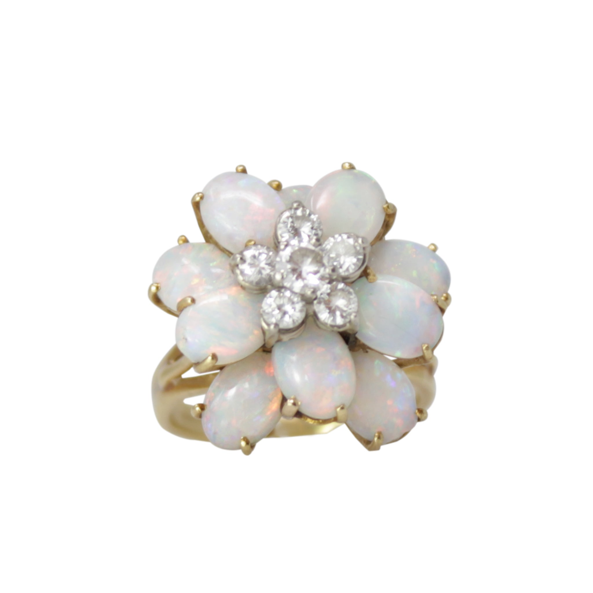 Opal Diamond Flower Ring - 18k Yellow Gold Diamond and Opal Vintage Ring