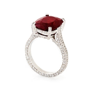 PLATINUM OVAL RUBY & DIAMOND RING