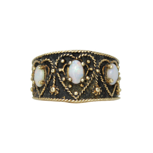 Opal Regal Crown Ring -14k Yellow Gold Kimberley Opal Love Ring Band