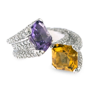 AMETHYST AND CITRINE RING