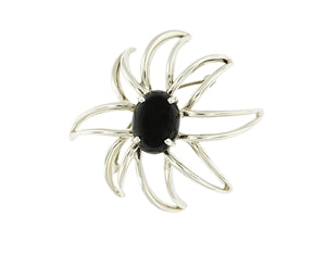 TIFFANY & CO. STERLING SILVER AND ONYX BROOCH