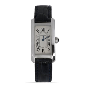 Cartier Tank Américaine 18k White Gold Ladies Watch With Black Leather Strap