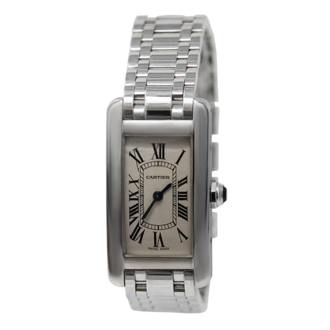 Cartier Tank Americaine 18k White Gold Ladies Watch Gold Bracelet