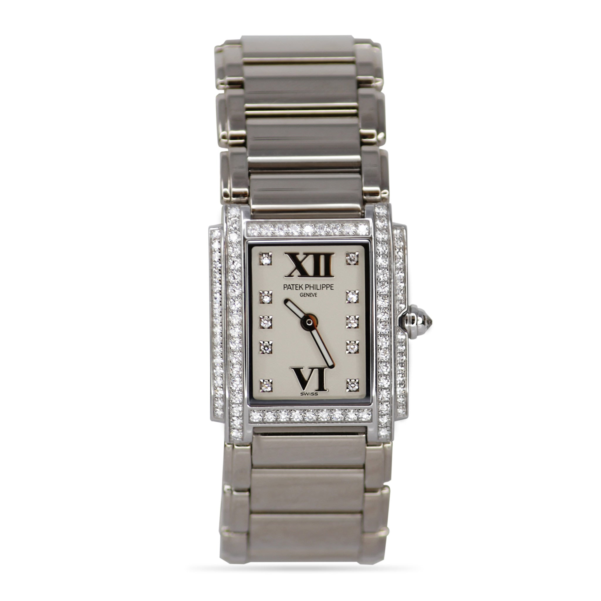 Patek Philippe Ladies White Gold Timeless Watch With Diamonds