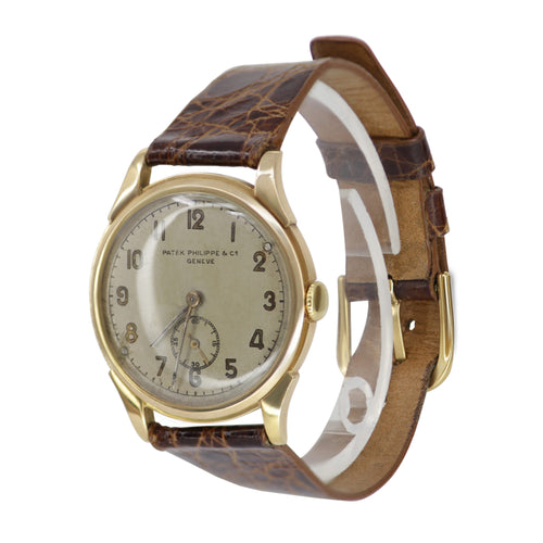 Patek Philippe 18k Yellow Gold and Brown Crocodile Strap Vintage Watch
