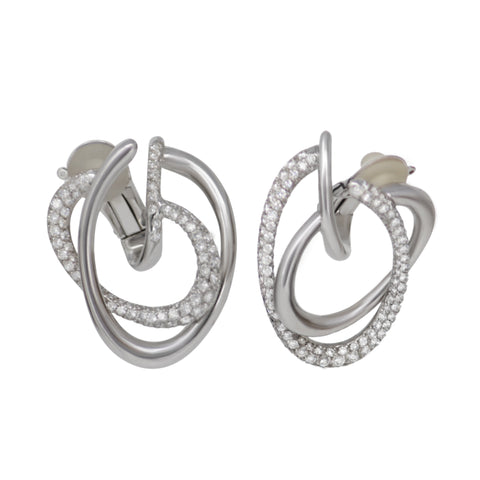 CHANEL - Coco Attitude Earrings - 18K White Gold Diamond Swirl Earrings