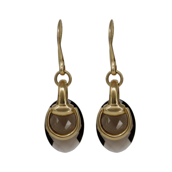 GUCCI 18k Yellow Gold Horsebit Earrings with Faceted Smokey Brown Quartz