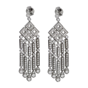 "Tiffany & Co Platinum Diamond ""Jazz"" Collection Long 5 Bar 4 Square Earrings"