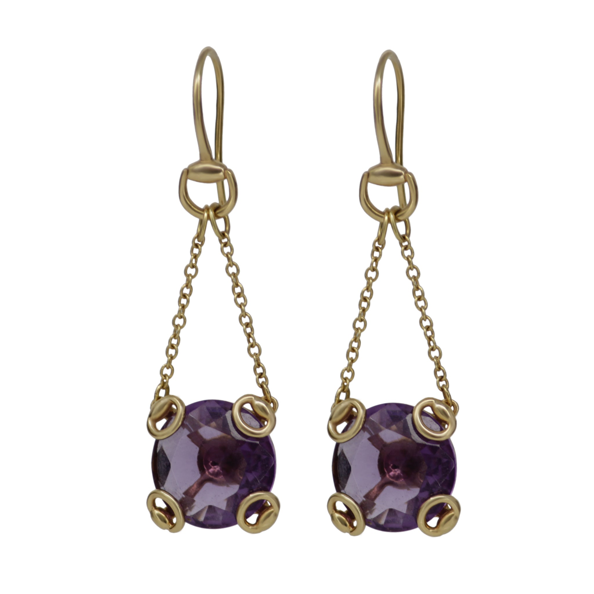 Gucci 18k Yellow Gold Amethyst Horsebit Long Dangle Drop Stylish Earrings