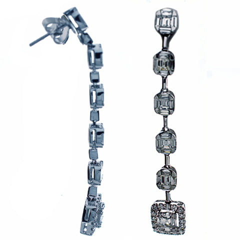 Modern Diamond Drop Earrings - 18k White Gold Diamond Long Dangling Earrings