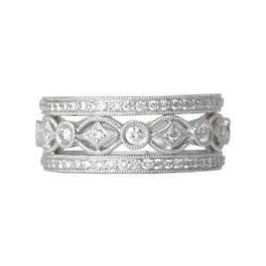 Queen Of My Heart Band - Platinum Diamond Filigree Wide Ring