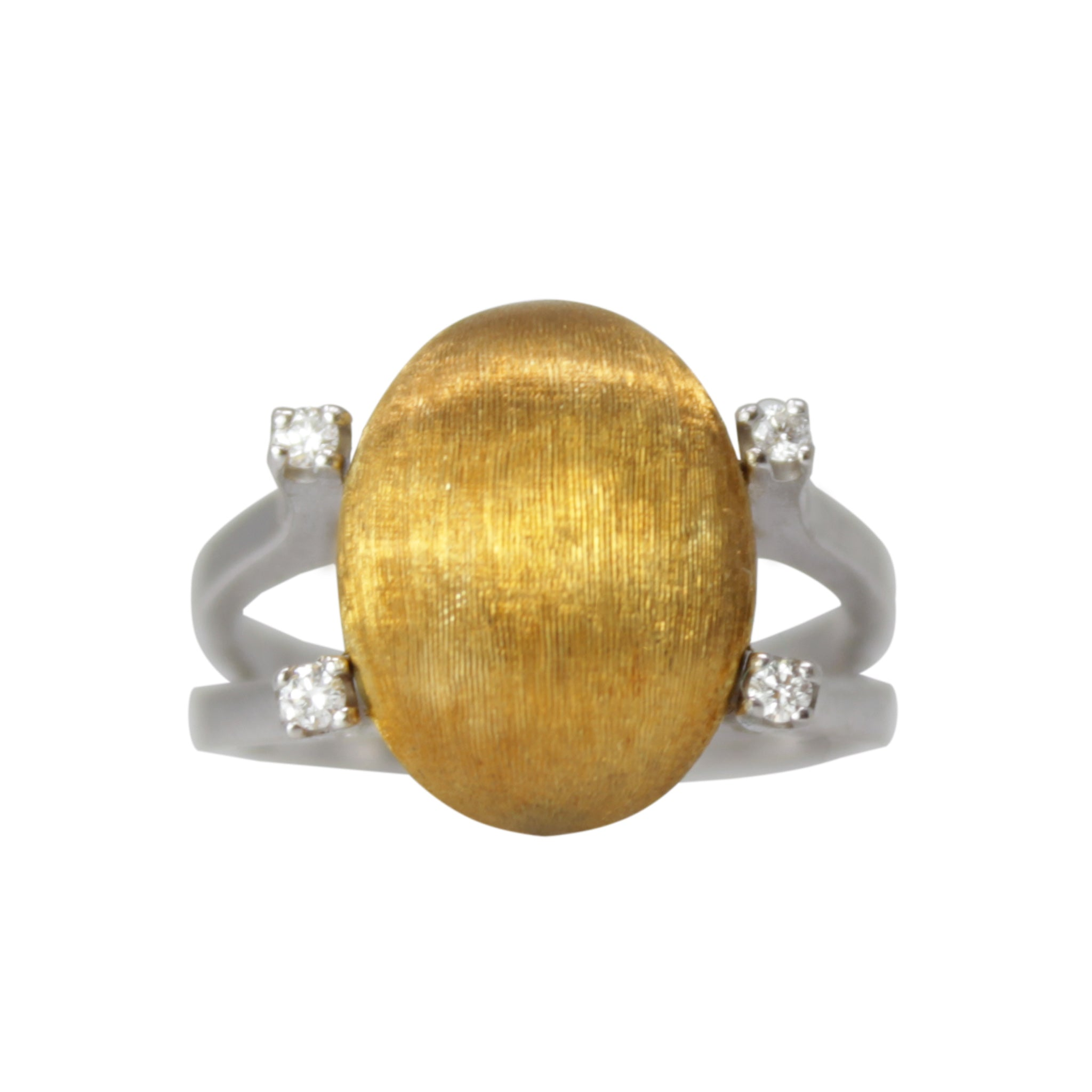 Golden Egg Ring - 18K White Gold Diamond Ring With Woven Gold