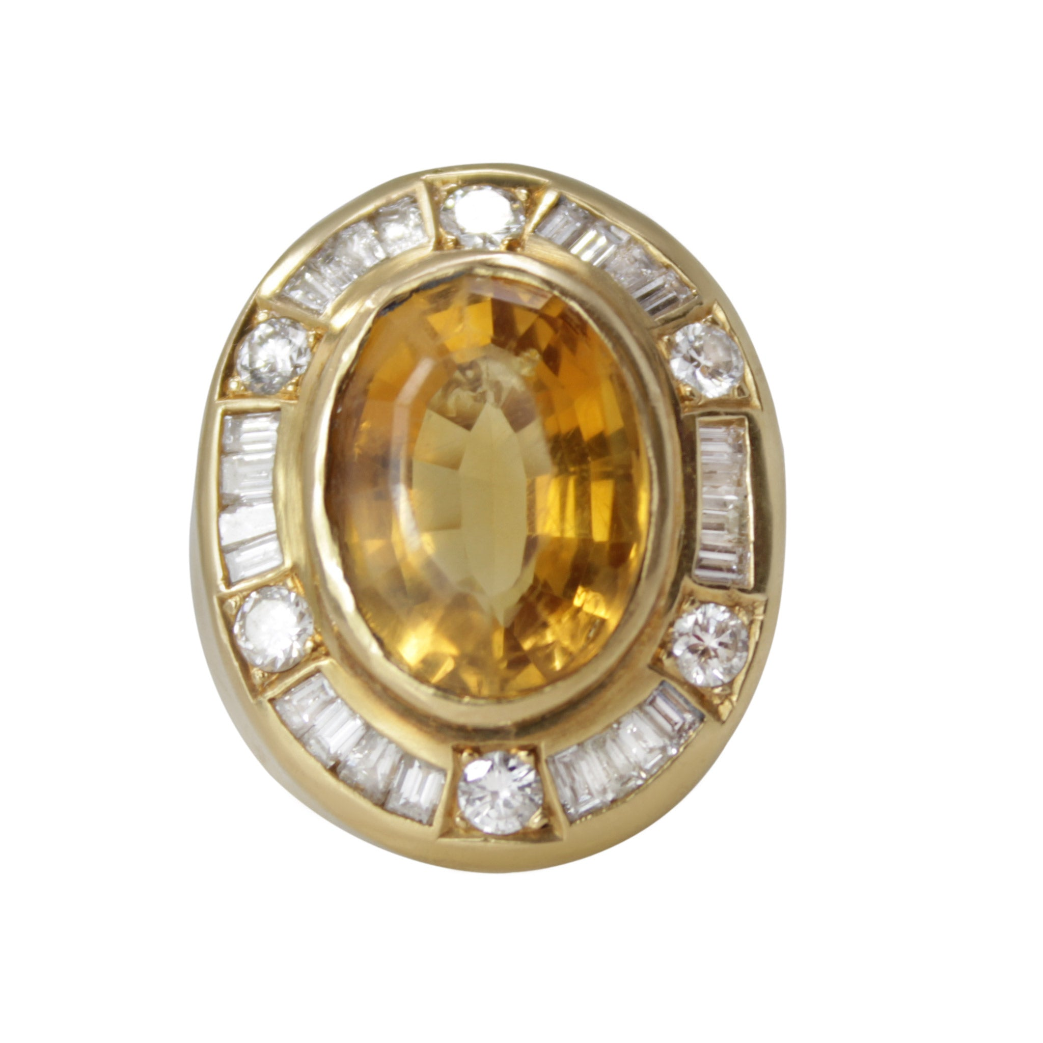 Sun Disk Ring - 18K Yellow Gold Oval Yellow Tourmaline and Diamond Baguette Ring