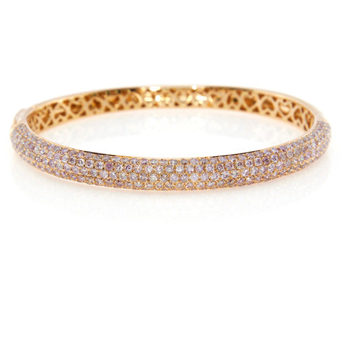 f1e95ba503e2c Pink Power Bangle -18k Rose Gold Pave Diamond Bangle Bracelet