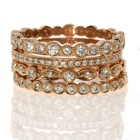 Pink Ring Stack -18k Rose Gold Diamond 4 Sets Pairs Band Rings