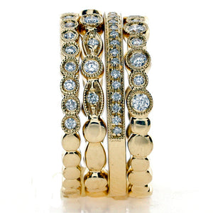 Yellow Diamond Stacking Bands - 18k Yellow Gold Stacker 4 Rings