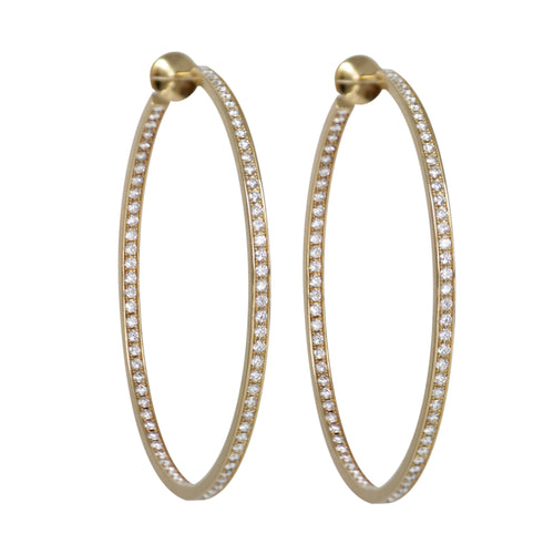 De Cartier Large Round Eternity Diamond Hoops in 18k Yellow Gold