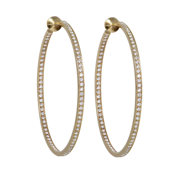 Cartier Large Round Eternity Diamond Hoops in 18k Yellow Gold Earrings