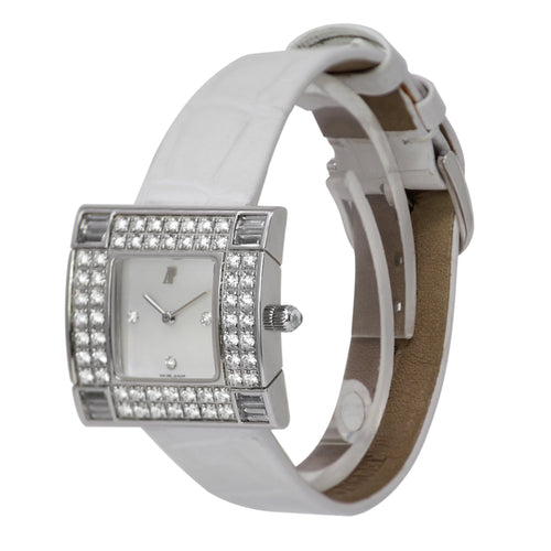 Audemars Piguet Myriad Diamond Bezel Ladies Watch 18k White Gold White Crocodile Band