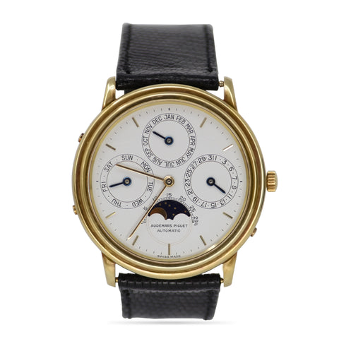 Audemars Piguet Perpetual Calendar 18k Yellow Gold Vintage Men's Chronograph Watch Round Face