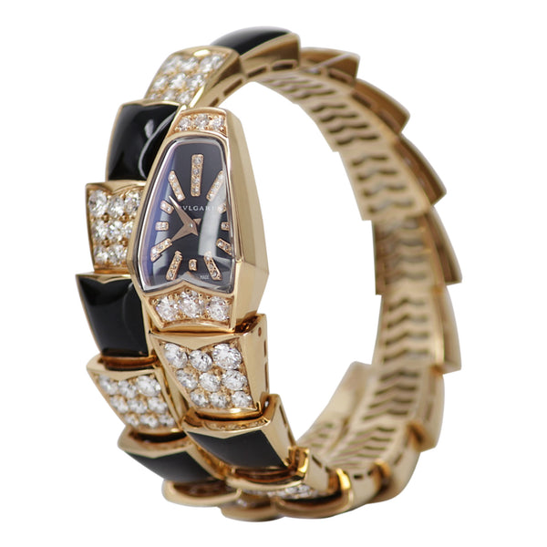 Bvlgari Serpenti Watch - 18k Rose Gold Diamond and Onyx Watch - Bulgari - New
