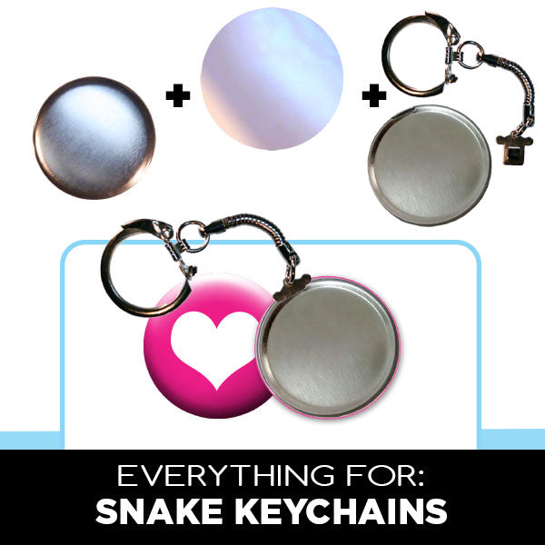 Snake Button Keychians, Button Making Parts & Supplies by People Power Press,