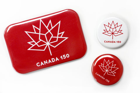 Canada150 official logo buttons.