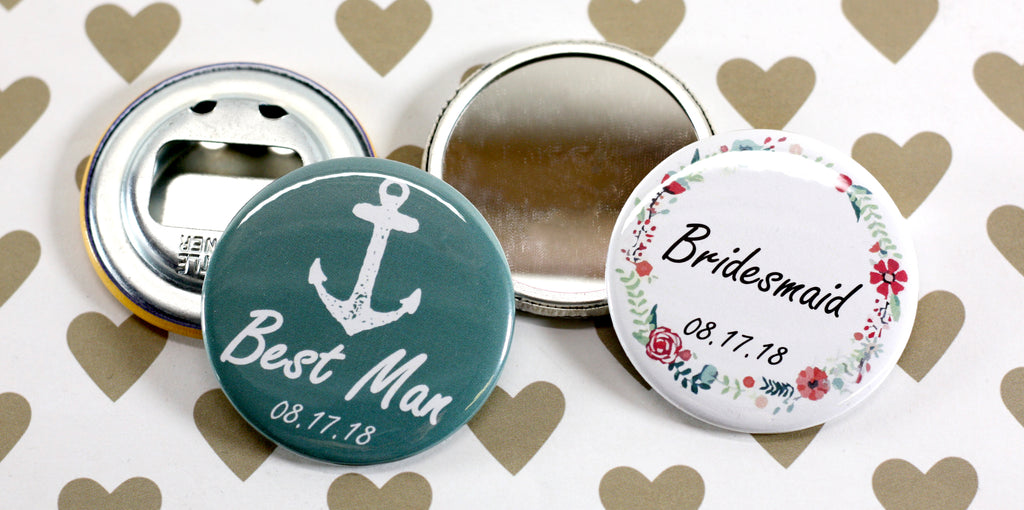 Button Gifts for Wedding Party Bottle Openers and Pocket Mirrors