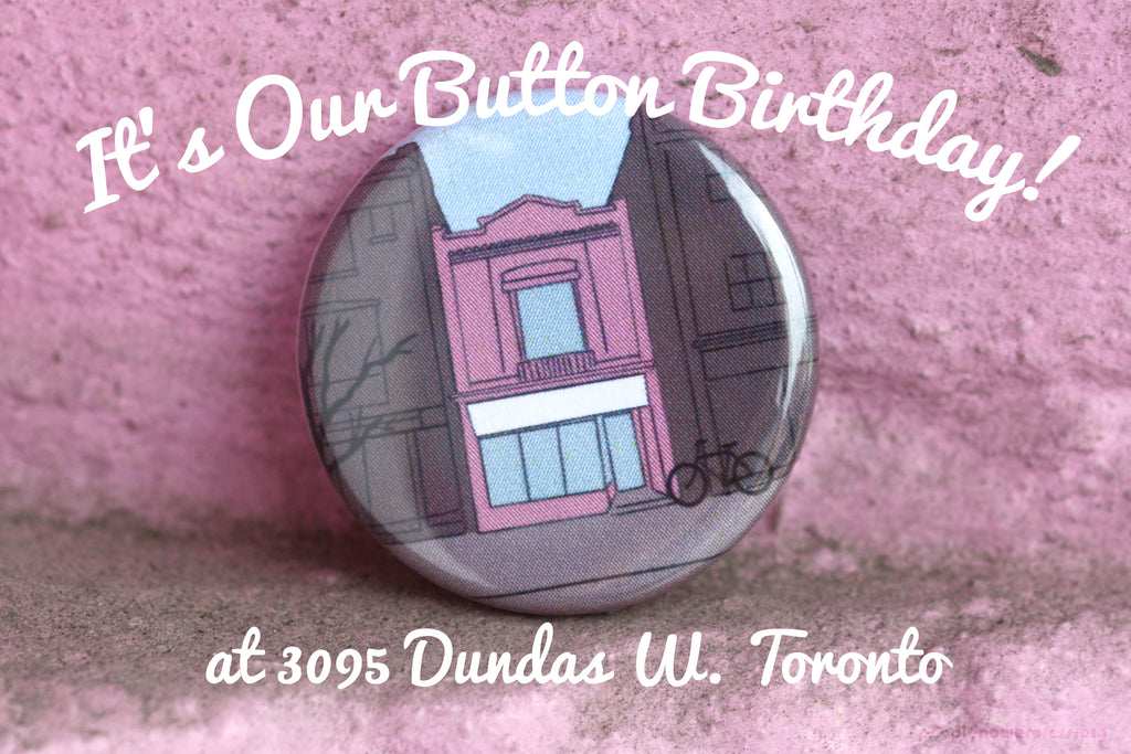 People Power Press Pink Building Button 3095 Dundas West Toronto