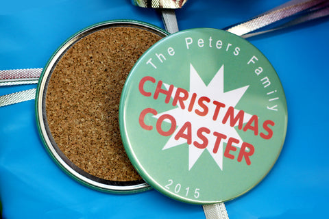 custom holiday coasters to give as gifts. make great keepsakes. personalized christmas presents.