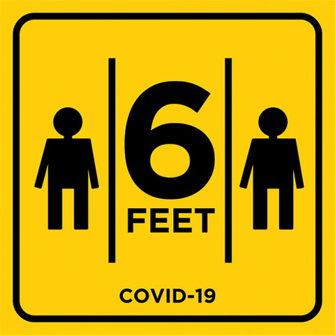 6 feet social distancing sign
