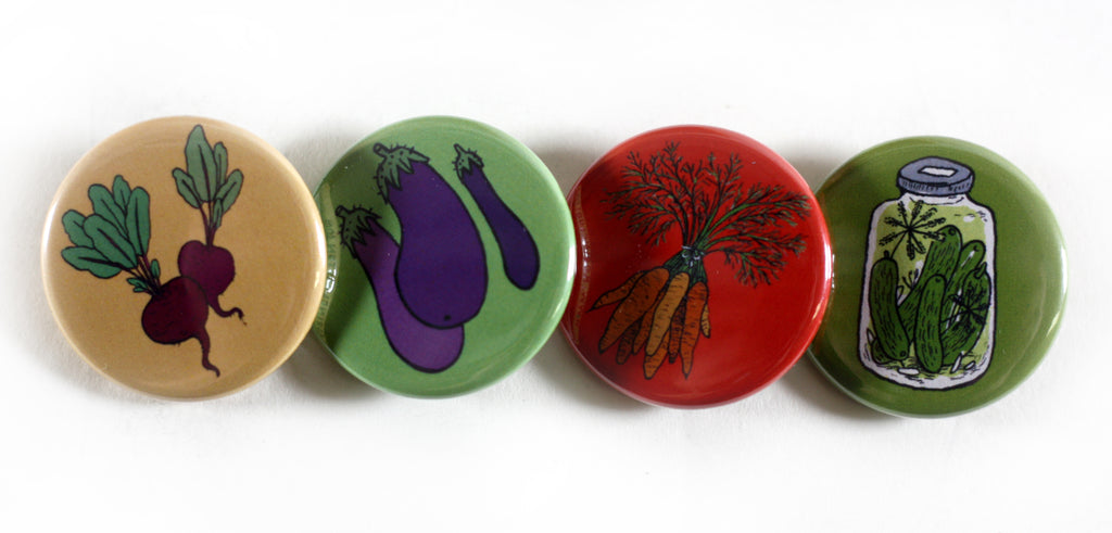 Illustrated Buttons, Vegetable Buttons, Robin Clugston,