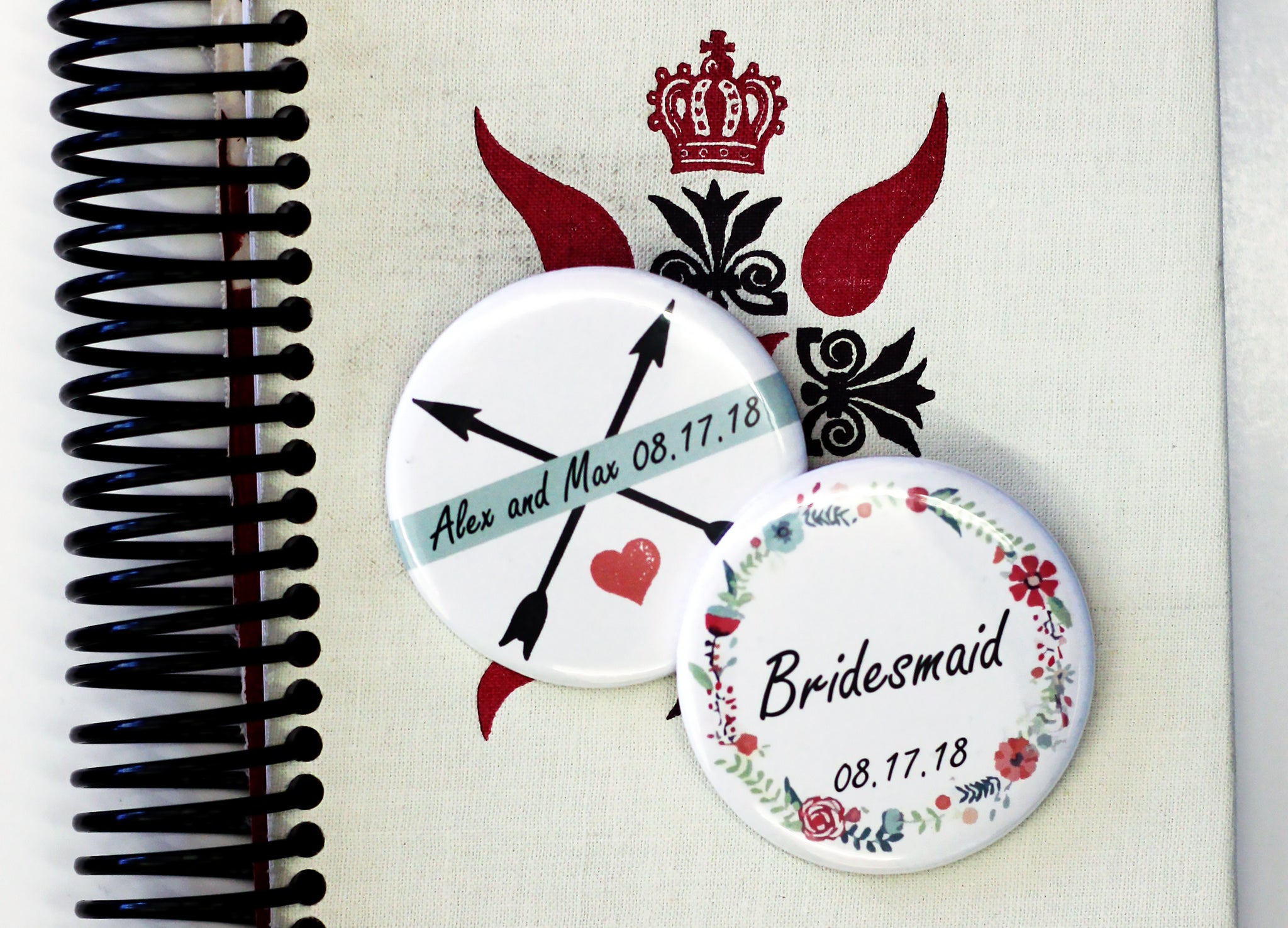 Custom Summer Camp Themed Buttons for Weddings