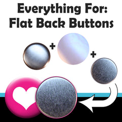 "Button parts to make 1"" round flat back buttons and jewelry with buttons"