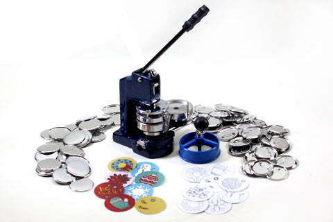FLEX2000 Holiday Themed Hobby Button Maker machine. This cheap button maker kit comes with parts and supplies to make pinback buttons and round magnets.