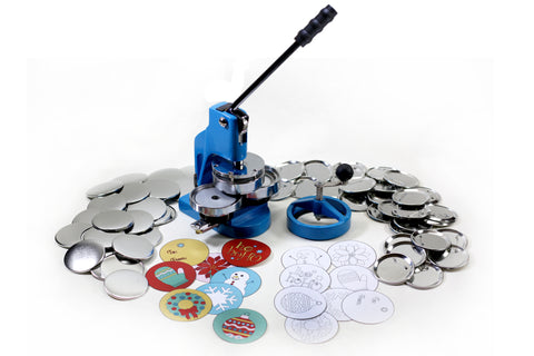 "the FLEX3000 hobby button maker is a sturdy machine with sliding dies that makes buttons in the 3"" size only. The holiday kit includes pre-cut holiday themed button art."