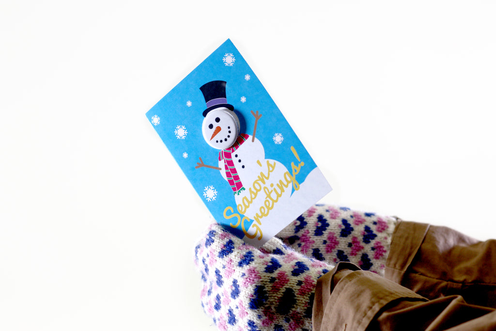 Seasons Greetings Button Card, Button Greeting Card,
