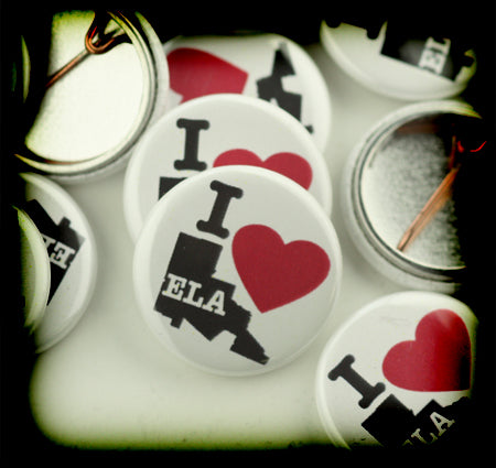 "I heart ELA buttons. 7/8"" custom buttons made for InnerCity Struggle"