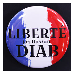 Liberte for Hassan Diab French Flag Button