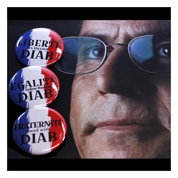 "2.25"" French Revolution themed Buttons to support Hassan Diab accused terrorist awaiting trial"