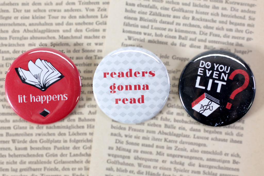 "Custom 2"" Pinback Buttons, All Lit Up, Literary Press Groupm Independent Canadian publishers, People Power Press, Custom Buttons,"