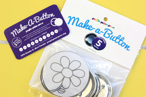 make-a-button gift pack. bring your friends to people power press and make buttons in our store