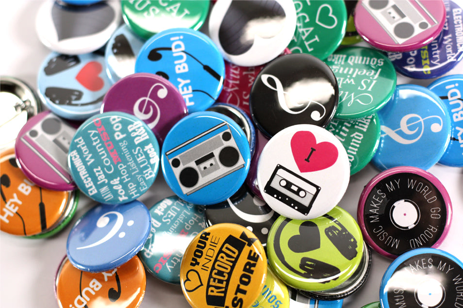 "Music Makes The World Go Round Button Pack, Music Buttons, 1-1/4"" Buttons, People Power Press Button Collection, Bright, 1-1/4"" Pinabck Buttons,"
