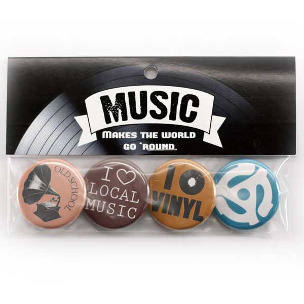 "Music Makes The World Go Round Button Pack, Music Buttons, Music Lover, 1-1/4"" Buttons, People Power Press Button Collection, Bright, Neutral,"