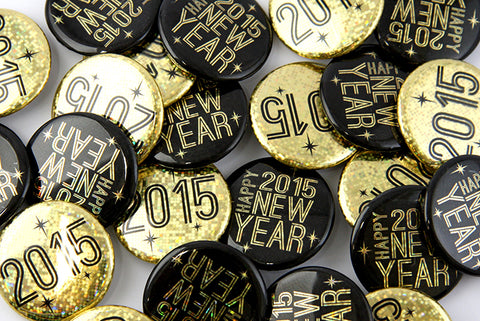 Custom New Year;s buttons badges pins magents from People Power Press