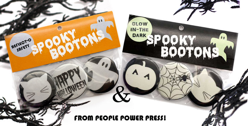 Reflective and Glow-in-the-dark buttons from People Power Press