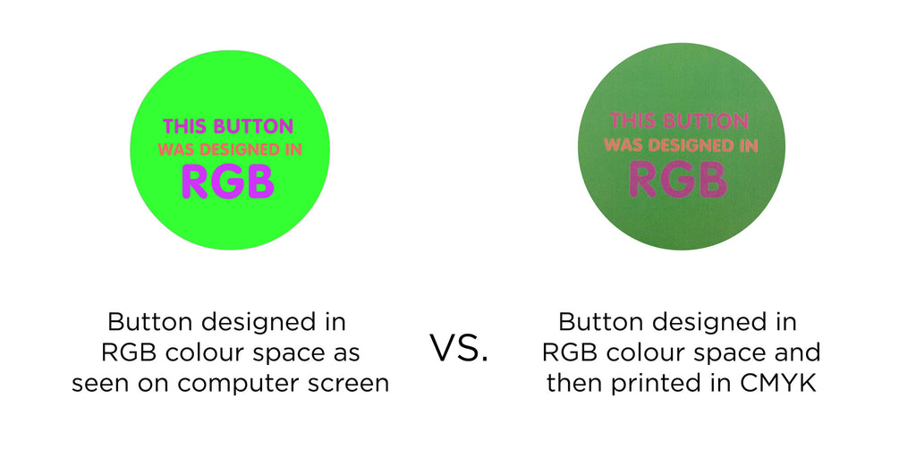 RGB vs CMYK button artwork, button design, colour space,
