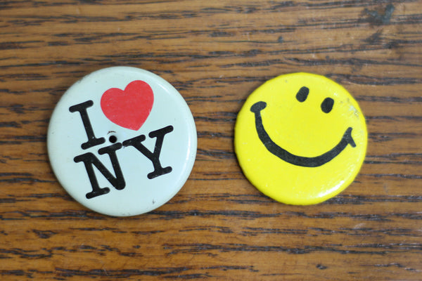 I Love New York Button, Smiley Face Button, Retro Pinback Buttons, The History of Buttons